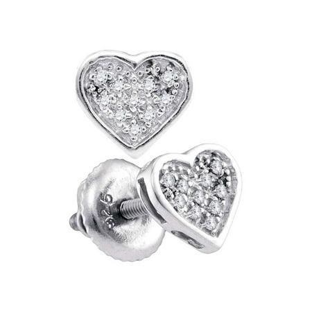 Sterling Silver Womens Round Diamond Heart Cluster Stud Earrings 1/20 Cttw Heart Shaped Diamond Cluster Earrings