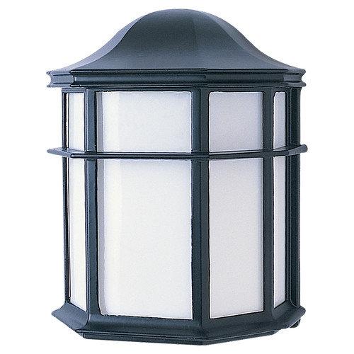 Sea Gull Lighting 321034 1-Light Fluorescent Wall Lantern in Black Finish Cast
