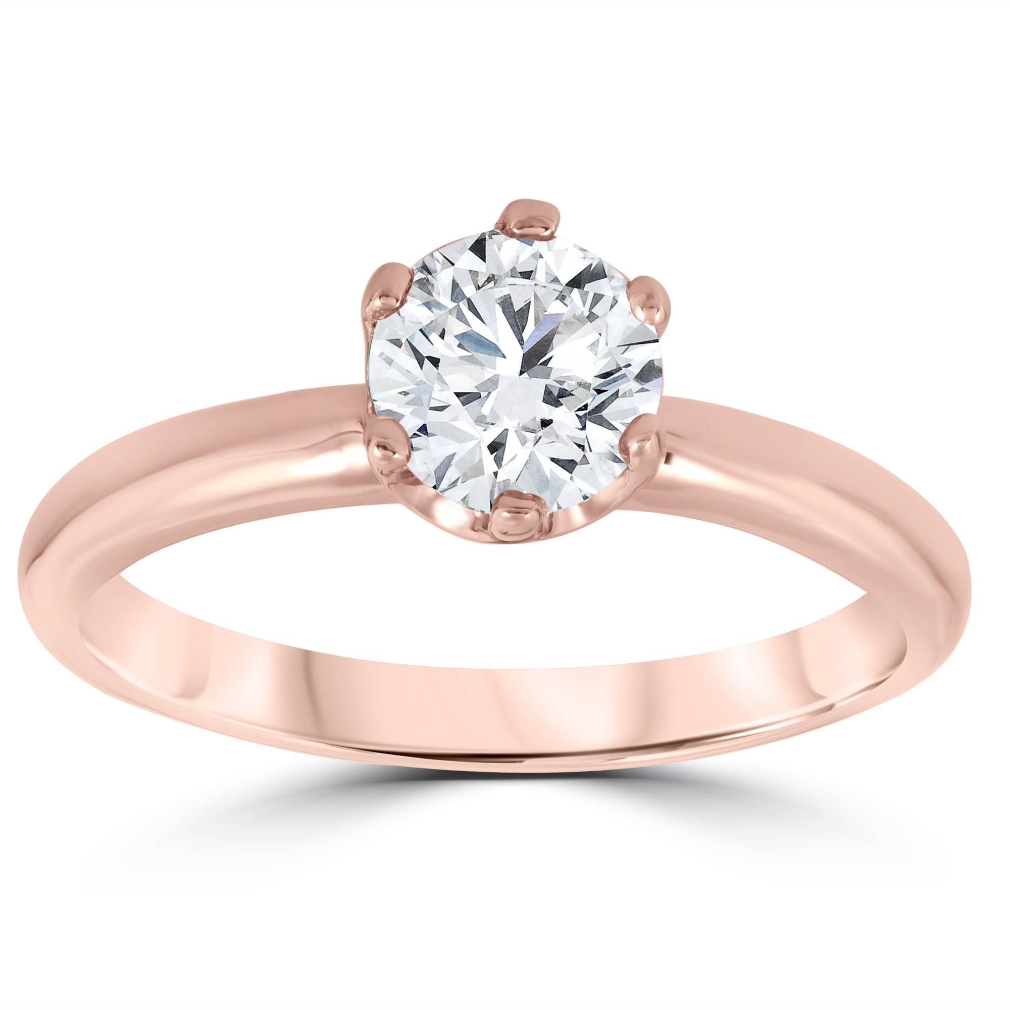 1ct Round Diamond Solitaire Engagement Ring 14K Rose Gold by Pompeii3