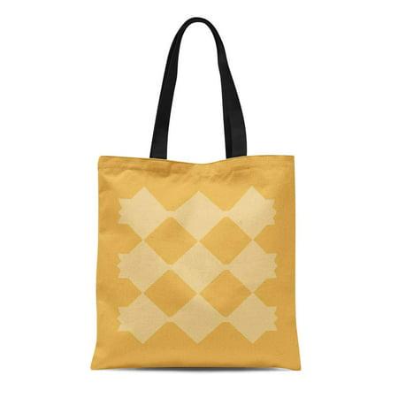 ASHLEIGH Canvas Tote Bag Pattern Yellow Diamond Gold Shoppe Lumbar Reusable Handbag Shoulder Grocery Shopping Bags
