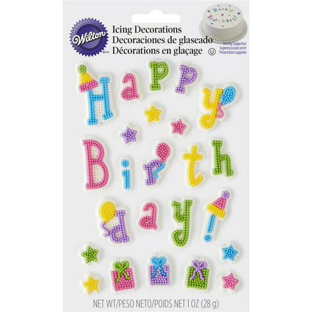 (4 Pack) Wilton Birthday Girl Dot Matrix Icing Decorations - Shark Birthday Supplies