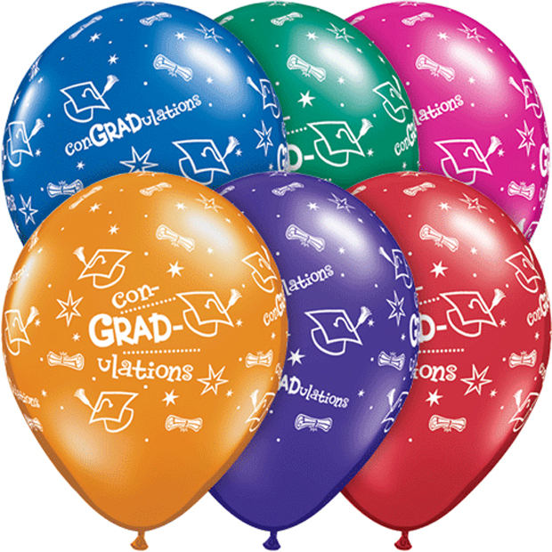"Qualatex CON-GRAD-ULATIONS Grad Caps Stars 11"" Latex Balloons, Assorted, 50 Pack"