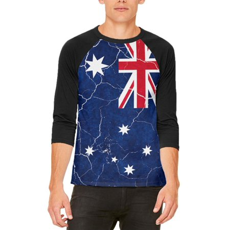 Distressed Australian Flag Mens Raglan T Shirt ()