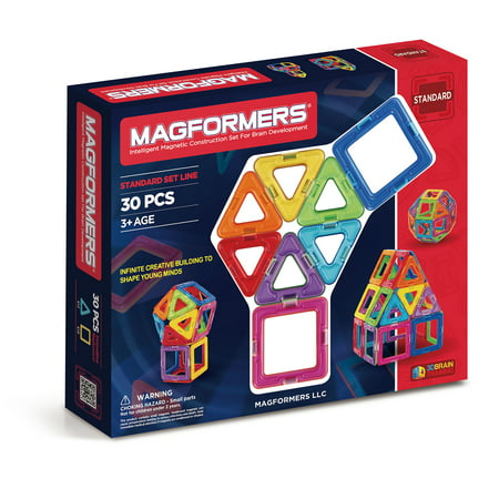 Magformers Basic Rainbow Set Multicolor Magnetic Tiles 30 Pieces