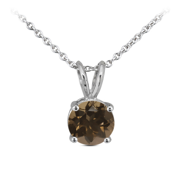 0.26 Ct Round Brown Smoky Quartz 14K White Gold Pendant With Chain