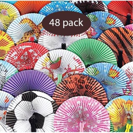 Folding Paper Fans For Kids 48 Piece Assortment In Colorful Box 10 Inch Easy To Use Chinese Paper Fans For Boys, Girls, Birthdays, Japanese Party decoration, Party Favors By K - Birthday Party For Boy