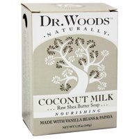 Dr. Woods Coconut Milk Bar Soap with Vanilla Beans, Papaya, & Organic Shea Butter, 5.25 oz (Pack of 6)