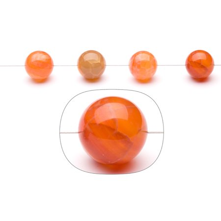 Fire Red Agate 16mm Round Beads Strand