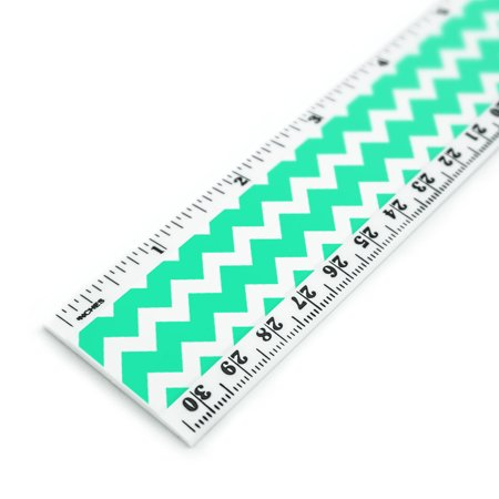 Teal Chevrons Pattern 12 Inch Standard and Metric Plastic Ruler