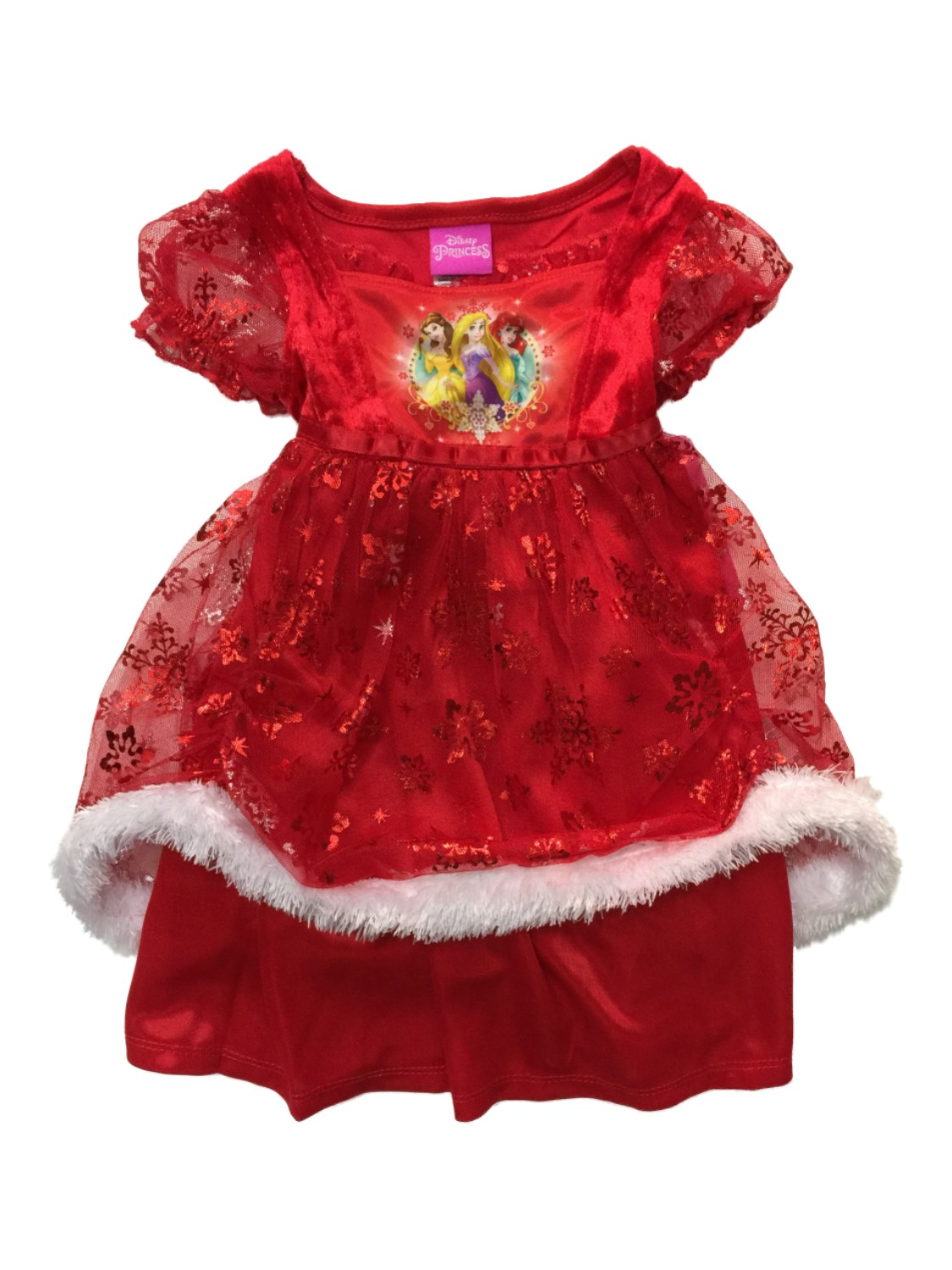 Infant & Toddler Girls Silky Red Disney Princess Nightgown Holiday Gown