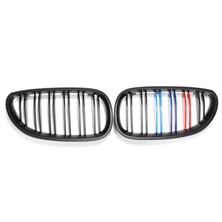 - Pair Matte Black M Color Front Kidney Grill Grille For BMW 2003-2010 E60 E61 5 Series