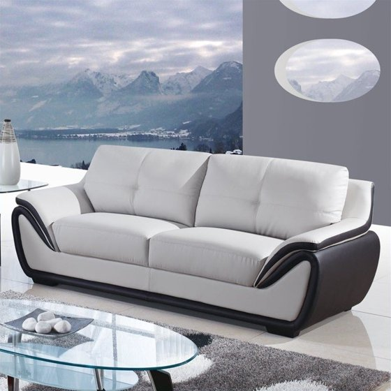 Global Furniture Usa 3250 Leather Sofa In Gray And Black Walmart Com