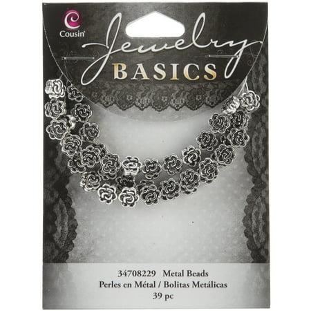 Jewelry Basics Metal Beads, 7mm, 39pk, Silver, Flower