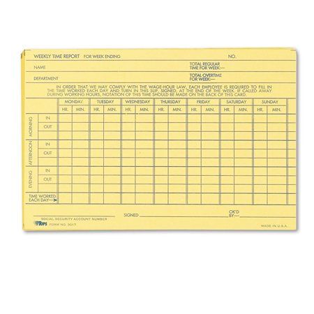 - Employee Time Report Card, Weekly, 6 x 4, 100/Pack