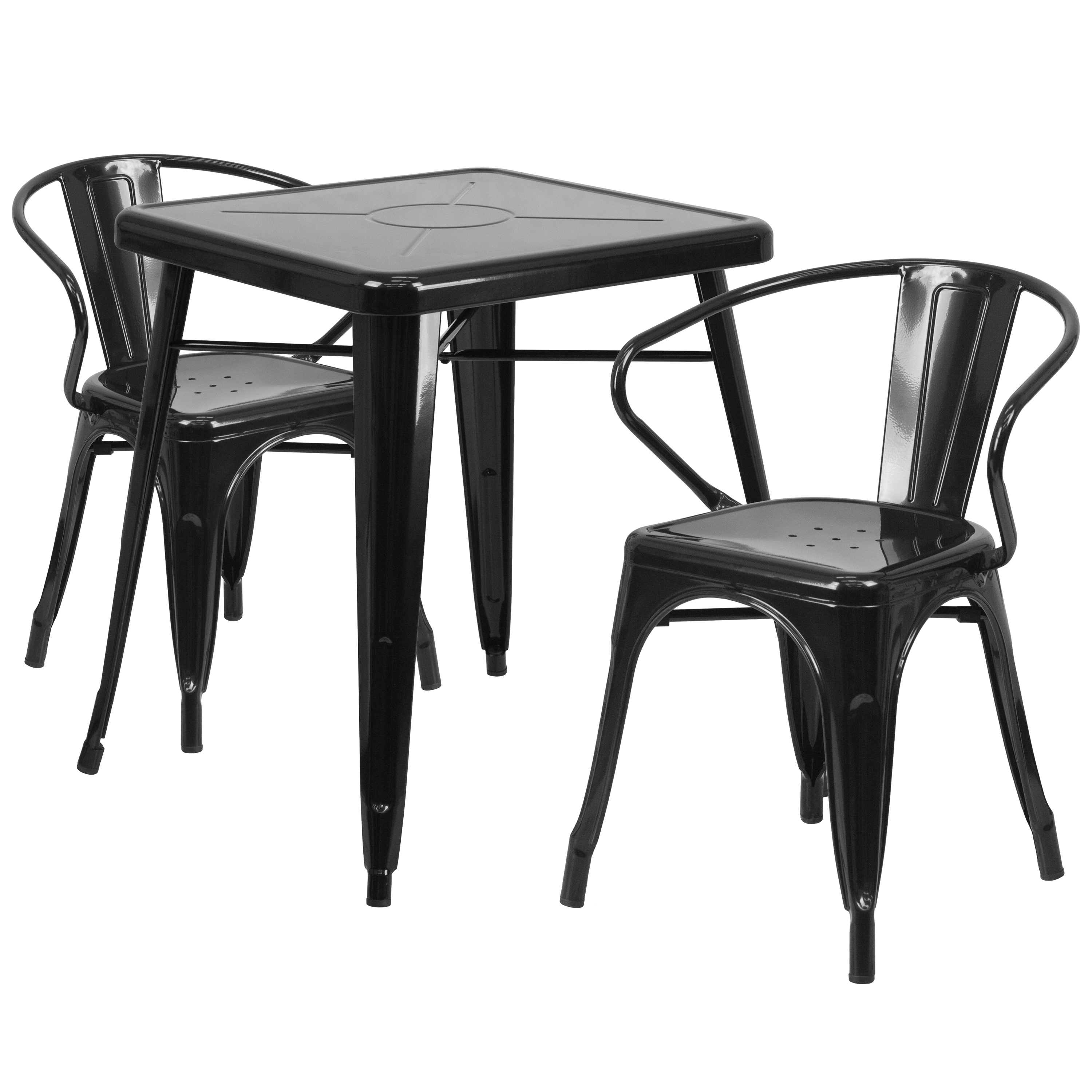 """Flash Furniture 23.75"""" Square Metal Indoor-Outdoor Table Set with 2 Arm Chairs, Multiple Colors"""