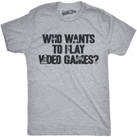 Crazy Dog T-shirts Mens Who Wants To Play Video Games Funny Nerdy Gaming Console T shirt