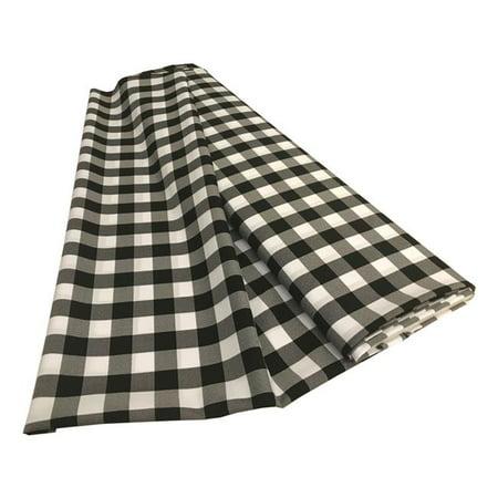 LA Linen CheckBolt-10Yrd-BlackK24 10 Yards Gingham Checkered Flat Fold, White & Black](Black And White Checkered Flag Fabric)