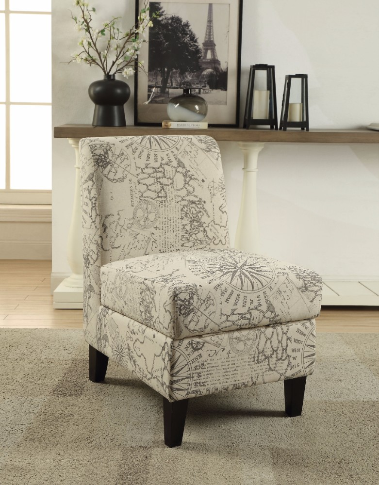 Accent Chair With Storage Pattern Fabric Cream And Gray