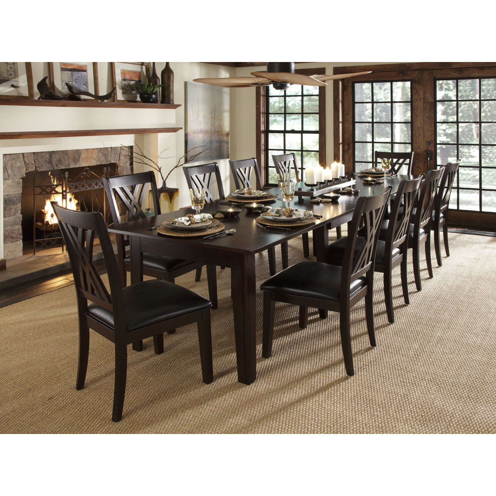 A-America Montreal Rectangular Extension Dining Table - Espresso