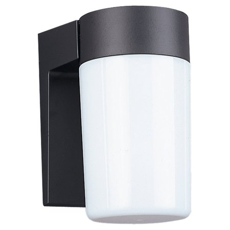 8301-12 Single-Light Outdoor Wall Lantern with White Plastic Diffuser, Black Cast Aluminum, 1-Medium A-line 60-Watt maximum bulb(s); bulb(s) not included By Sea Gull Lighting From USA