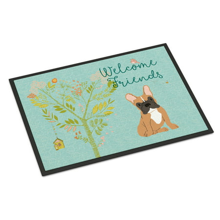 Welcome Friends Fawn French Bulldog Door Mat (Fawn French Bulldog)