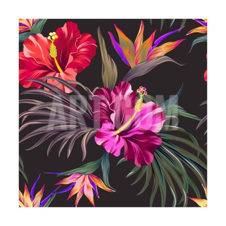 Seamless Vector Tropical Pattern. Vintage Style Hibiscus Flowers, Bird of Paradise, and Palm Leaves Print Wall Art By rosapompelmo