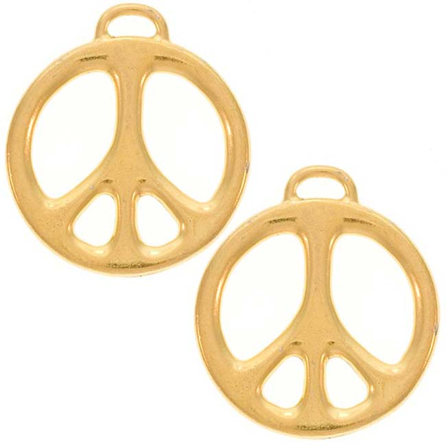 22K Gold Plated Pewter Peace Sign Pendant 27mm (1)