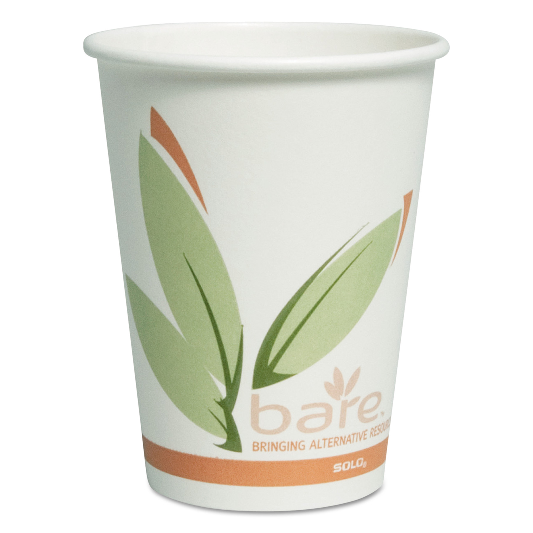 SOLO Cup Company Bare by Solo Eco-Forward Recycled Content PCF Paper Hot Cups, 12 oz, 300/Carton