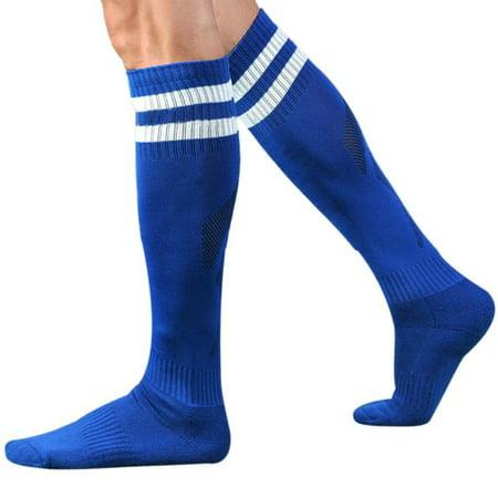 OkrayDirect Men Sport Football Soccer Long Socks Striped Socks High Sock Baseball (Mens Nylon Pro Football Sock)