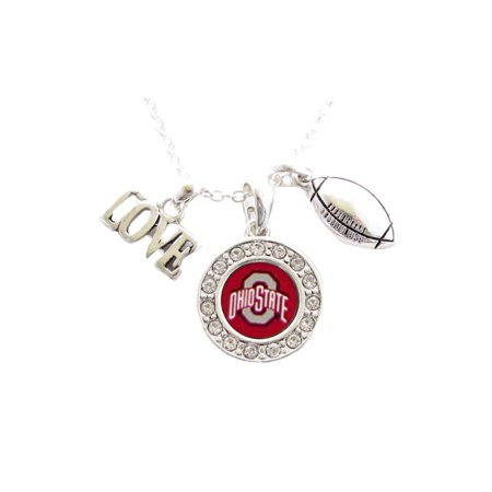 Ohio State Football Pendant - Ohio State Buckeyes Football Multi Charm And Red Charm Necklace Jewelry OSU.