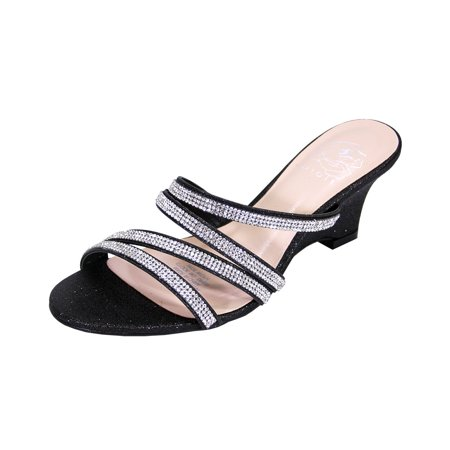 FLORAL Kelly Women Extra Wide Width Rhinestone Strappy Slip On Wedge Heeled Party Sandals (Strappy Womens Wedge)
