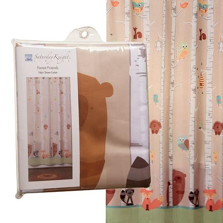 Forest Friends 70 X 72 Fabric Shower Curtain Unisex Kids Bathroom Dcor Woods