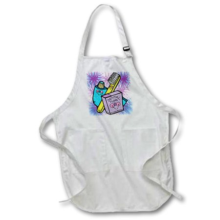 3dRose Cute Country Style Dental Tools, Full Length Apron, 22 by 30-inch, White, With Pockets