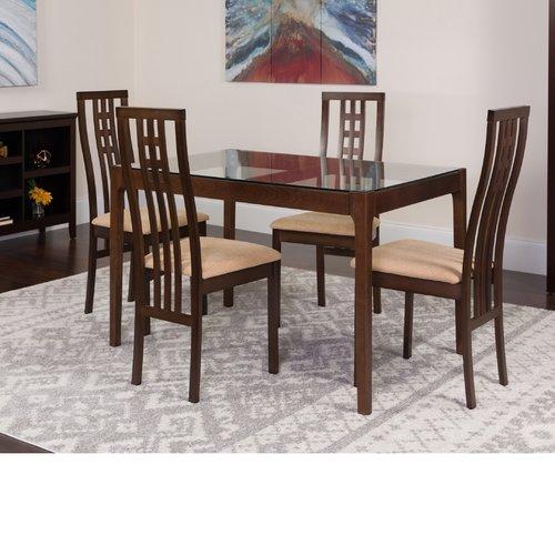 Winston Porter Hurtado 5 Piece Solid Wood Dining Set