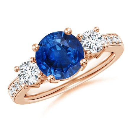 865 Rose (September Birthstone Ring - Classic Three Stone Blue Sapphire and Diamond Ring in 14K Rose Gold (8mm Blue Sapphire) -)