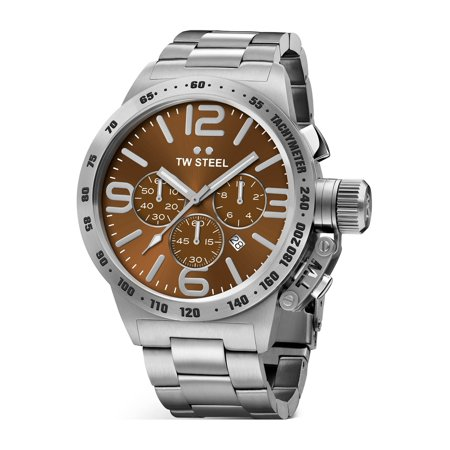 TW Steel Mens Stainless Steel Case Canteen Bracelet Brown Dial Silver Watch - CB23