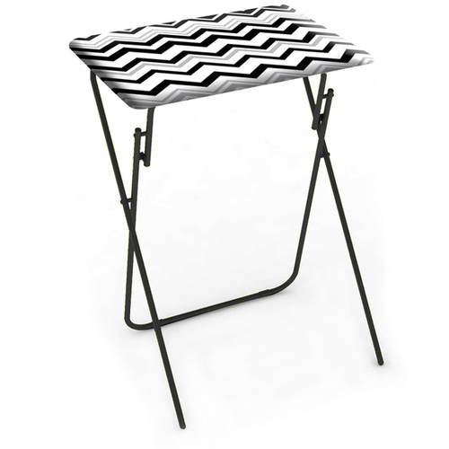 Folding Tray Table, Chevron Black, 2-Piece Set