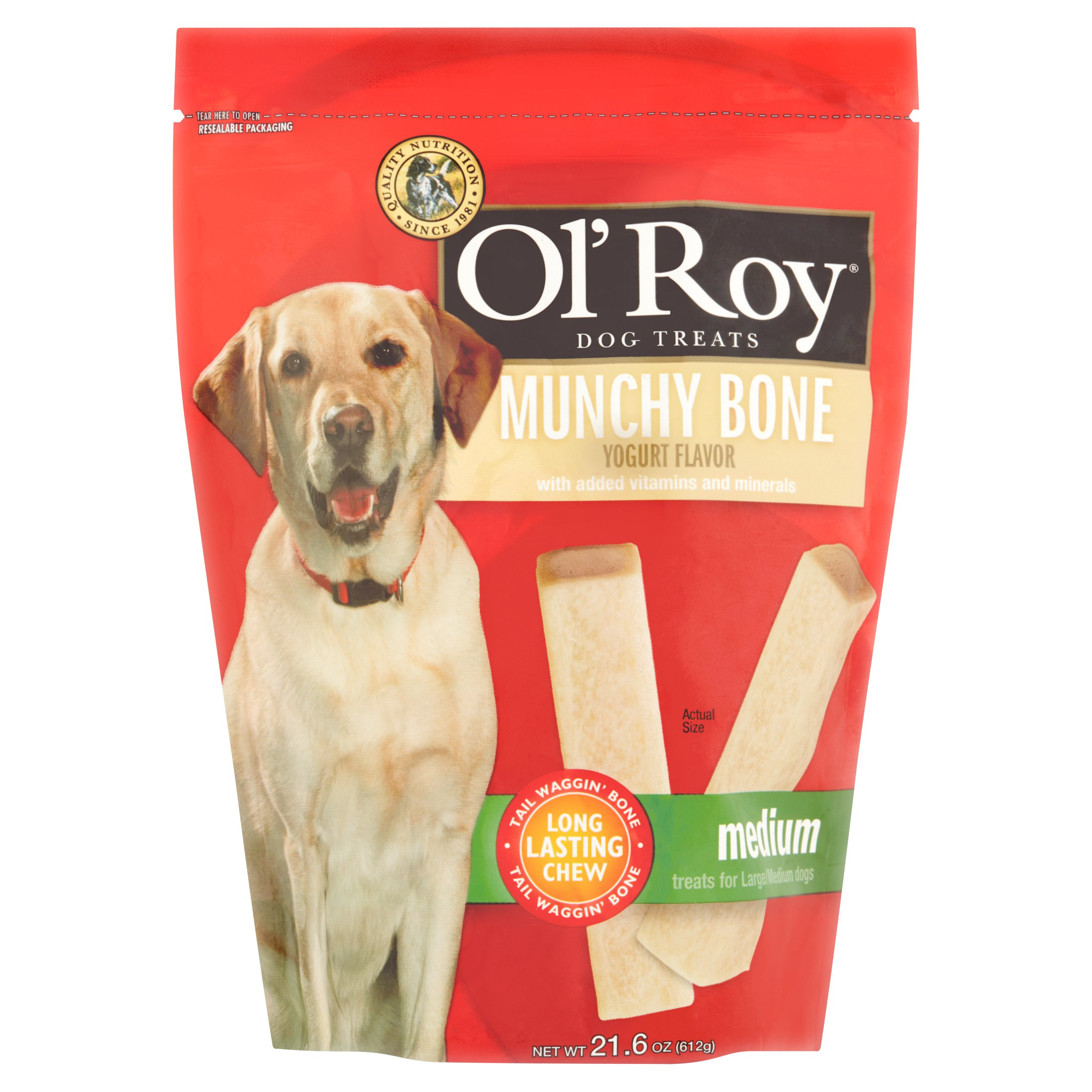 Ol' Roy Munchy Bone Yogurt Flavor Medium Breed Dog Treats, 21.6 Oz