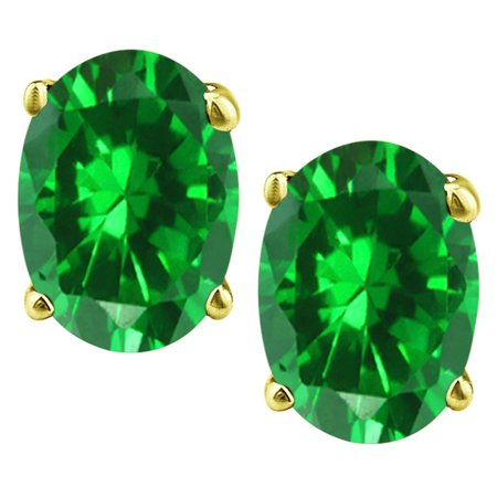 2.60 tcw Oval Cut cr Emerald Stud Earrings Solid 14k Yellow Gold