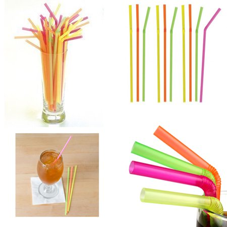 120 Neon Straw Flexible Bendable Birthday Kids Party Drinks Wedding Cocktail Bar