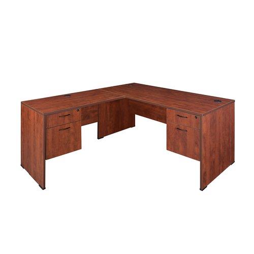 Regency Sandia L-Shape Reception Desk with Double File/Box Pedestal