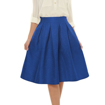 08a73cb3dd Women's High Waist Floral Embossed Pleated Full Skirt Blue (Size XL / 16)