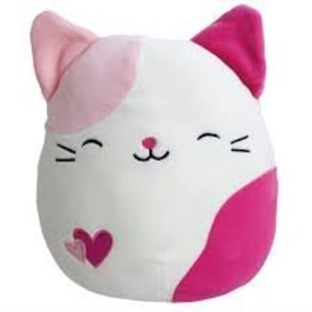 Kellytoy Squishmallows Valentine's Day Themed Pillow Plush Toy Pink Spotted Cat, 9 inches