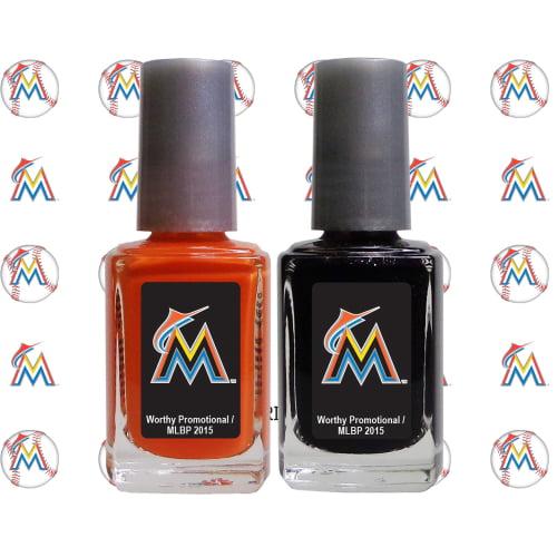 Miami Marlins 2-Pack Nail Polish with Nail Decal - No Size