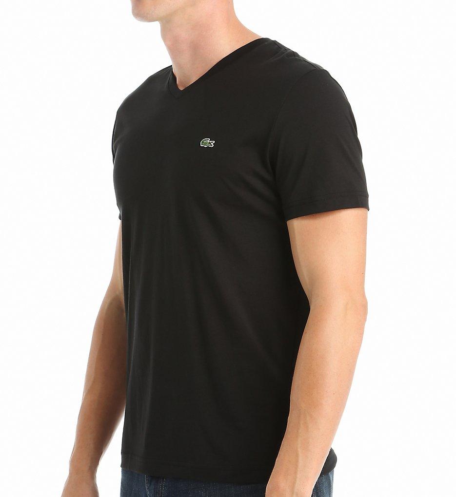 Lacoste TH6604-51 100% Pima Cotton V-Neck Short Sleeve T-...