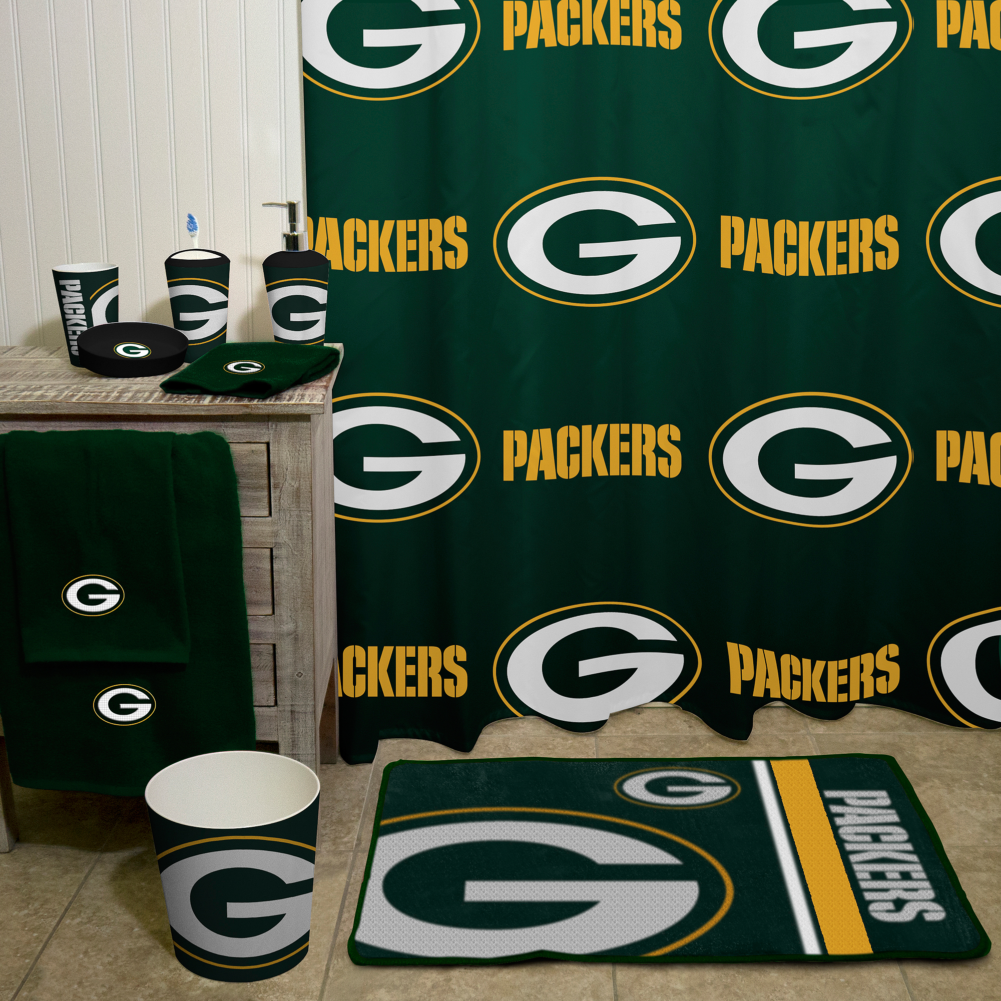 Green bay packers bathroom rug set bathroom design ideas for Bath remodel green bay