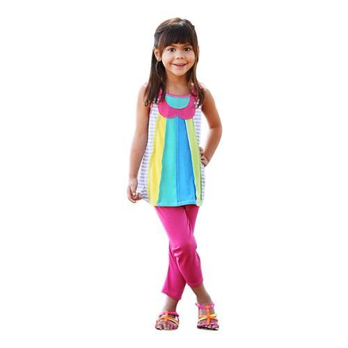 Glam Girl Little Girls Multi Color Floral Detail Panel Top Fuchsia Leggings 2 Pc Set 4 - 6