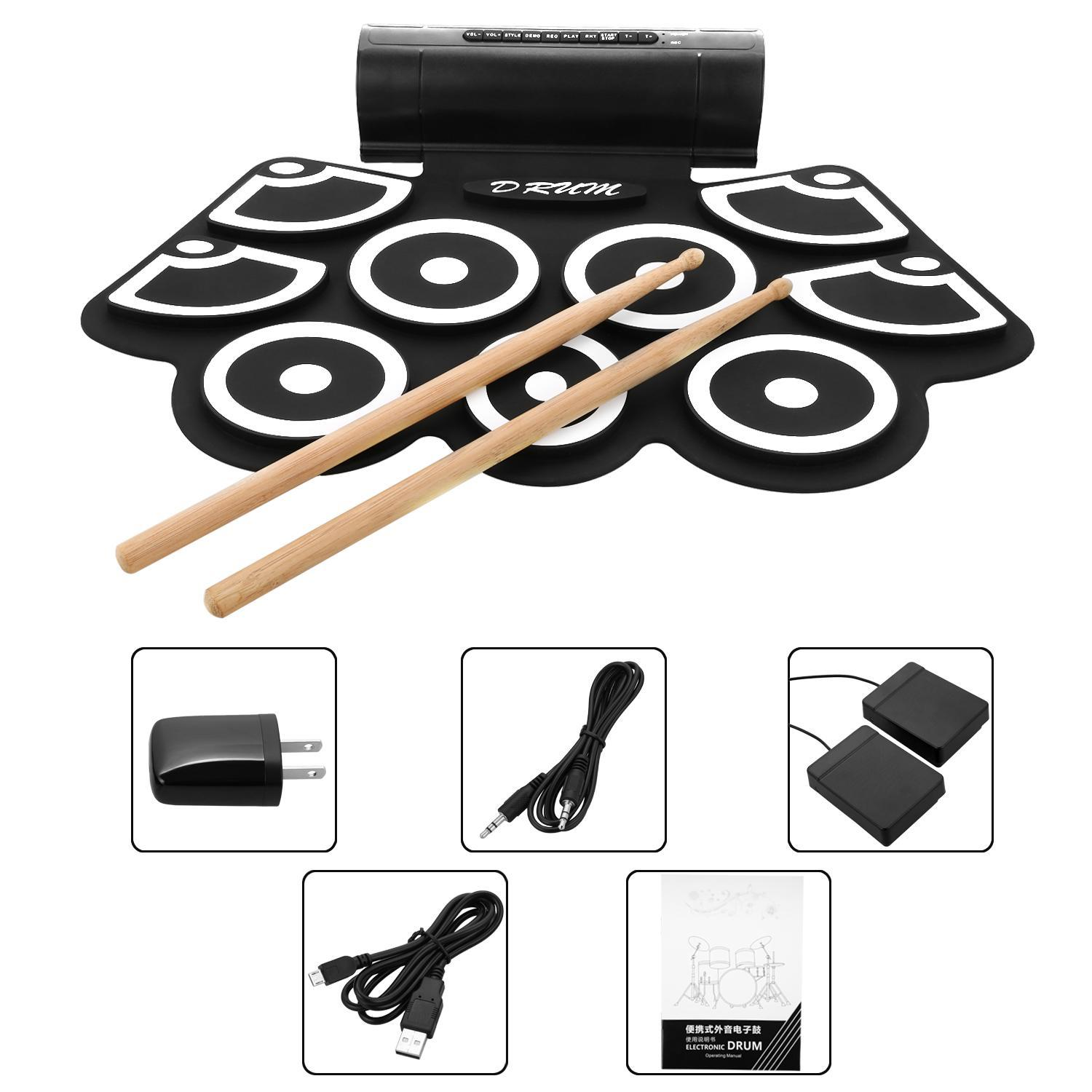 Electronic Drum Set Roll-Up with Built-in Speakers Foot Pedals Drumsticks GlSTE by PyleUSA