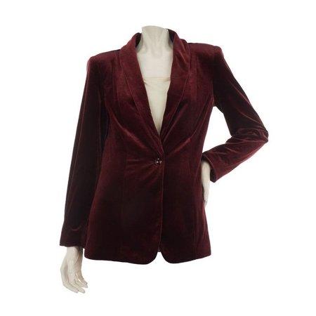 (Susan Graver Velvet Shawl Collar Long Slv Blazer A229131)