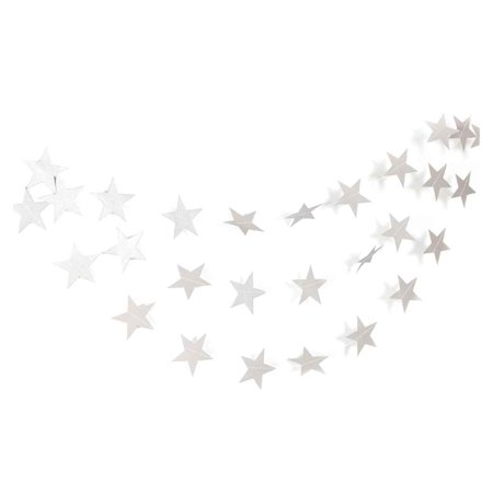 4m Star Heart Paper Garland DIY Banner Wedding Birthday Party Baby Shower Kids Room Home Hanging Decoration (Silver Wedding Anniversary Banners)